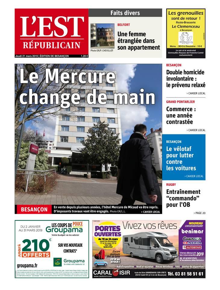 L'Est Républicain - Edition de Besançon du 21 mars 2019