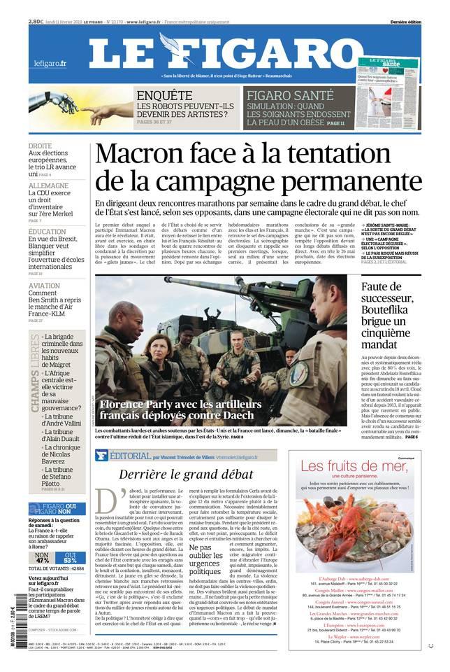 Le Figaro du 11 février 2019 à télécharger sur iPad