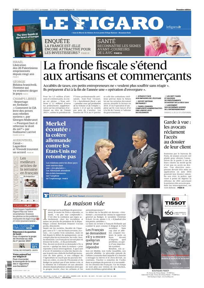 Le Figaro du 29 octobre 2013 à télécharger sur iPad