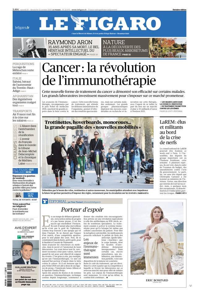 Le Figaro du 20 octobre 2018 à télécharger sur iPad