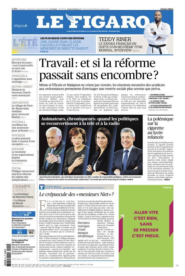 Le Figaro du 02 septembre 2017 à télécharger sur iPad