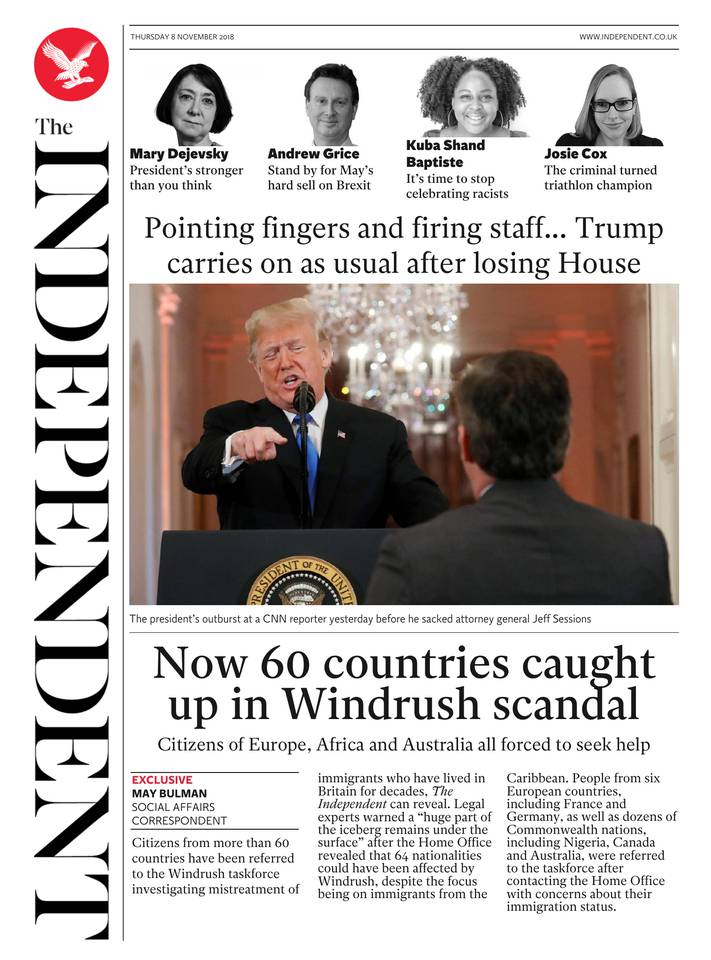 The Independent du 08 novembre 2018 à télécharger sur iPad