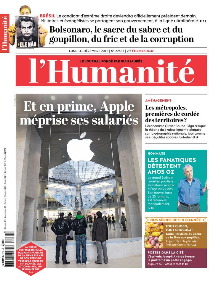 L'Humanité du 31 décembre 2018 à télécharger sur iPad