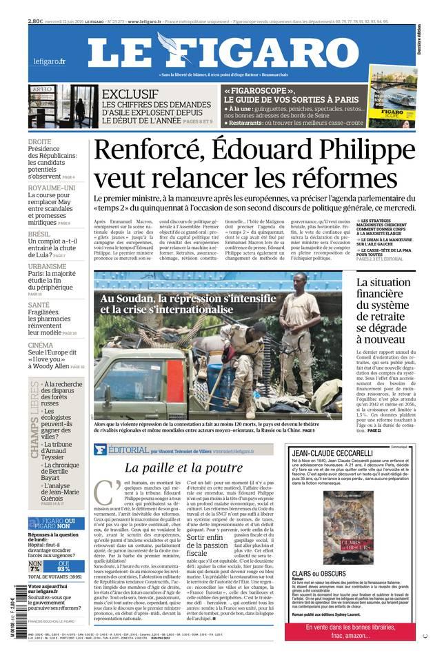 Le Figaro du 12 juin 2019 à télécharger sur iPad