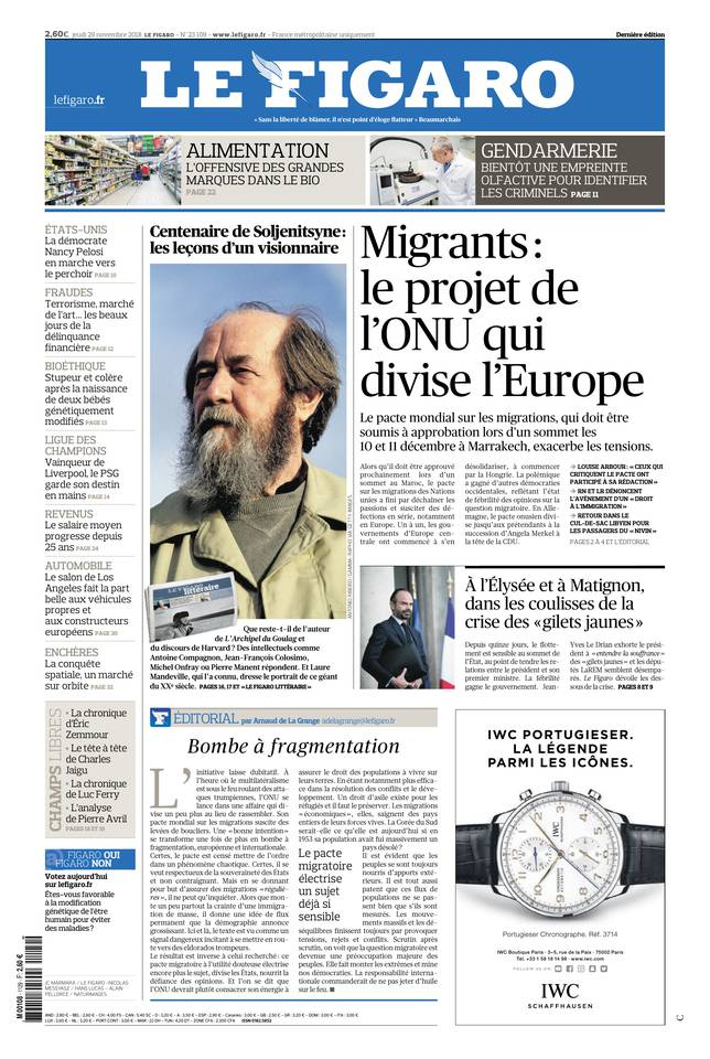 Le Figaro du 29 novembre 2018 à télécharger sur iPad