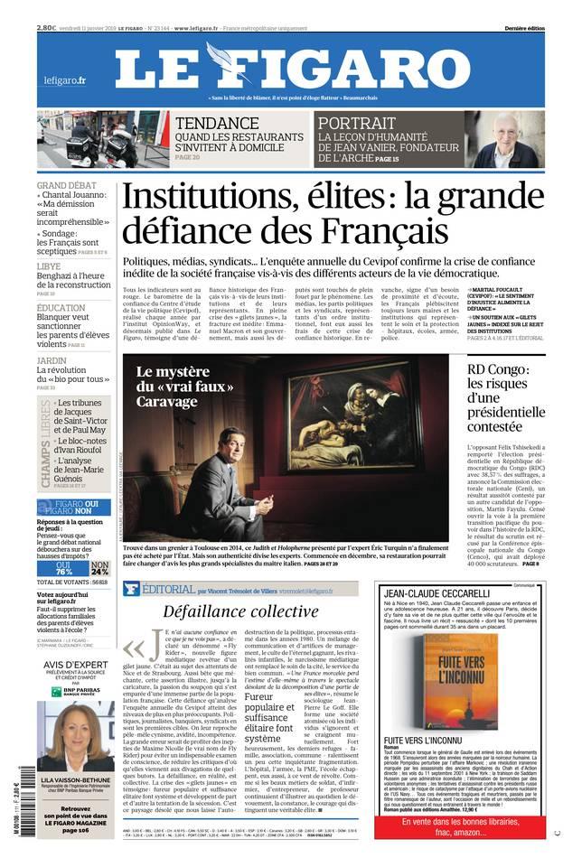 Le Figaro du 11 janvier 2019 à télécharger sur iPad