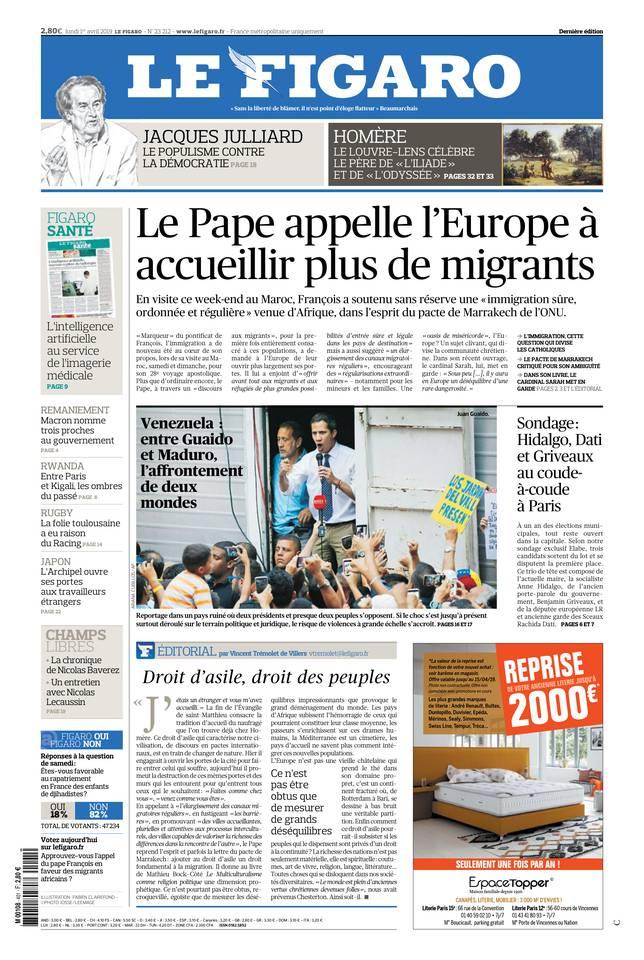 Le Figaro du 01 avril 2019 à télécharger sur iPad