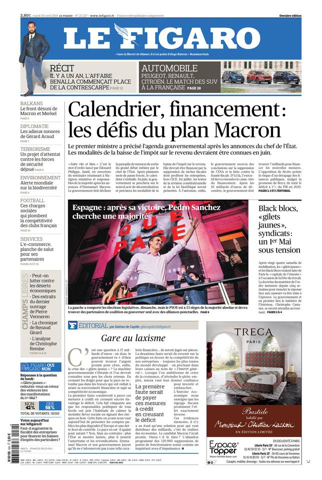 Le Figaro du 30 avril 2019 à télécharger sur iPad