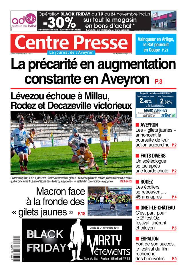 Centre Presse Aveyron du 19 novembre 2018 à télécharger sur iPad