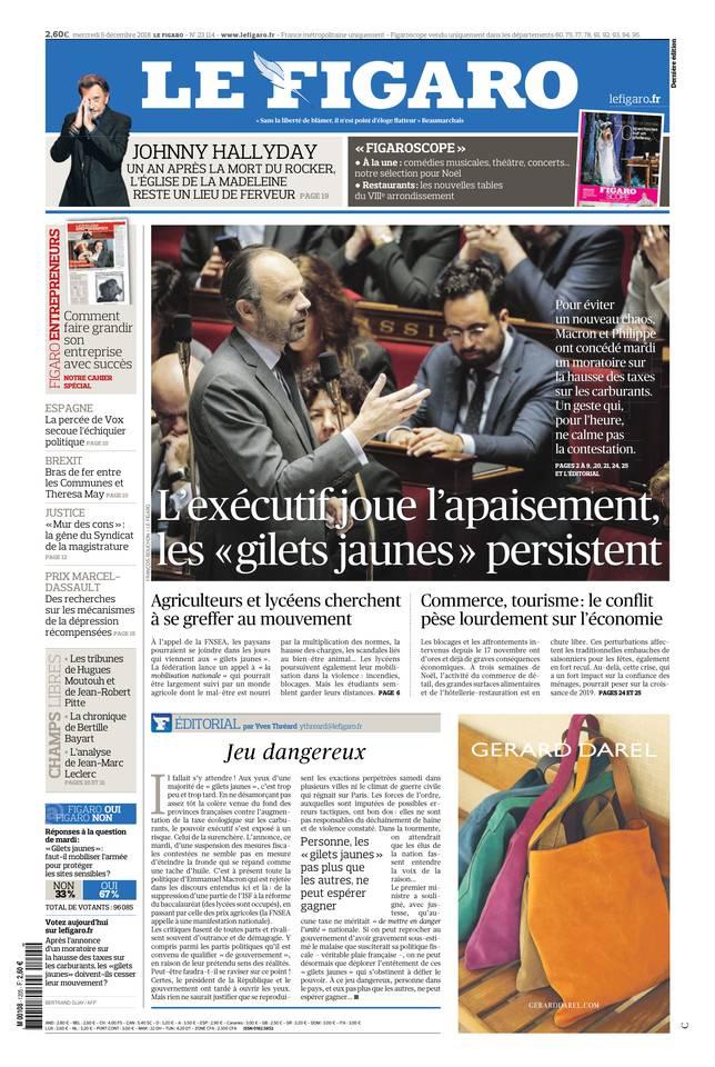 Le Figaro du 05 décembre 2018 à télécharger sur iPad