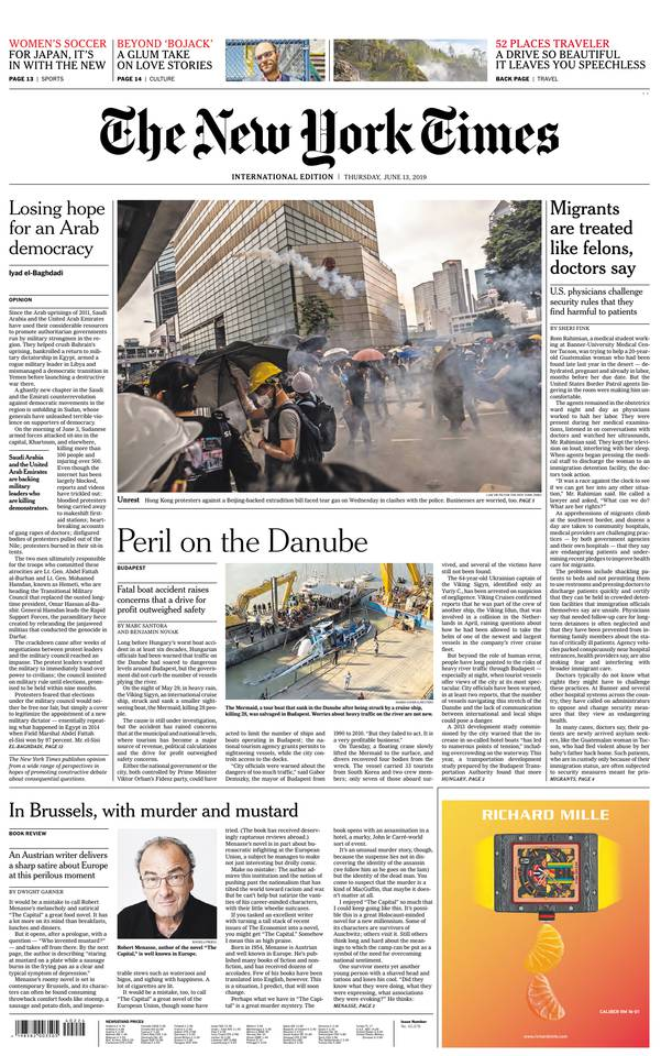 International New York Times du 13 juin 2019 à télécharger sur iPad