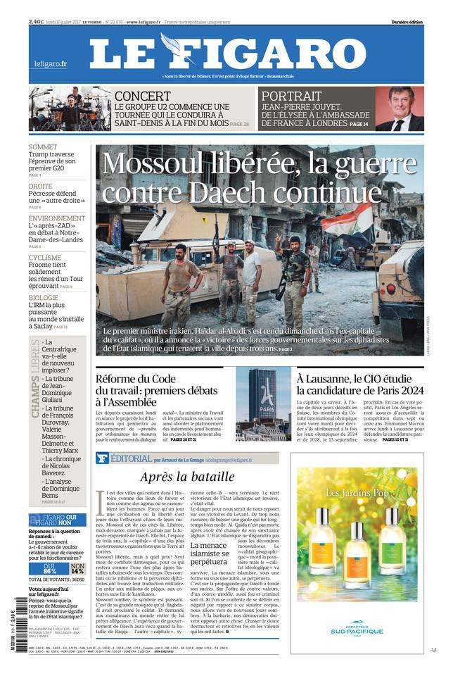 Le Figaro du 10 juillet 2017 à télécharger sur iPad