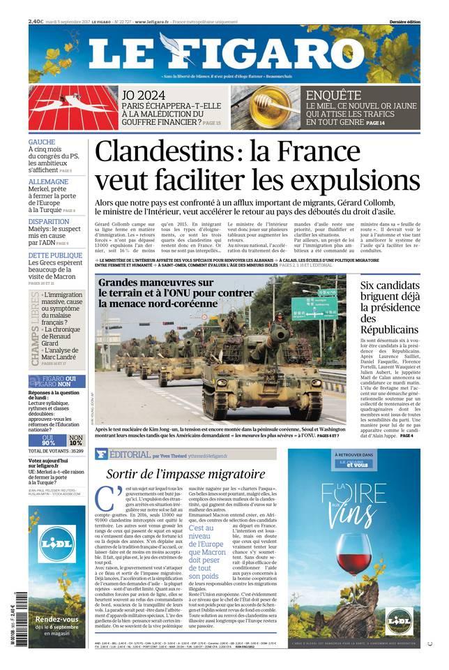 Le Figaro du 05 septembre 2017 à télécharger sur iPad