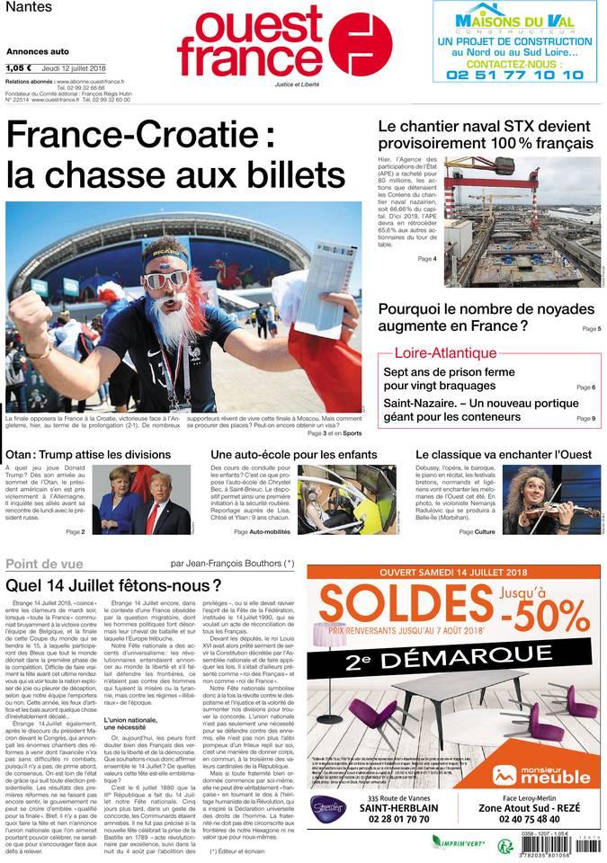 Ouest-France du 12 juillet 2018
