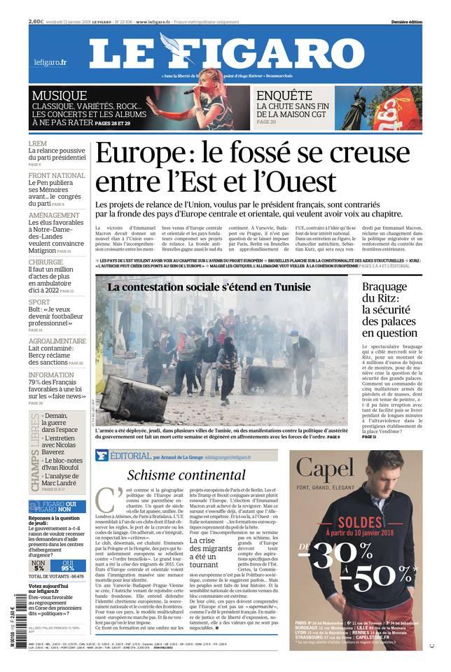 Le Figaro du 12 janvier 2018 à télécharger sur iPad