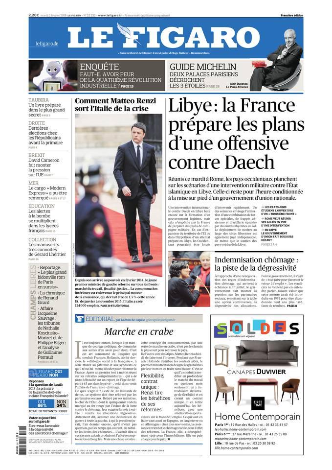 Le Figaro du Mardi 2 Février 2016