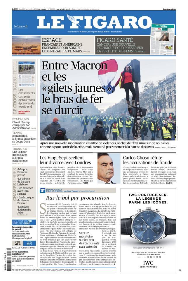 Le Figaro du 26 novembre 2018 à télécharger sur iPad