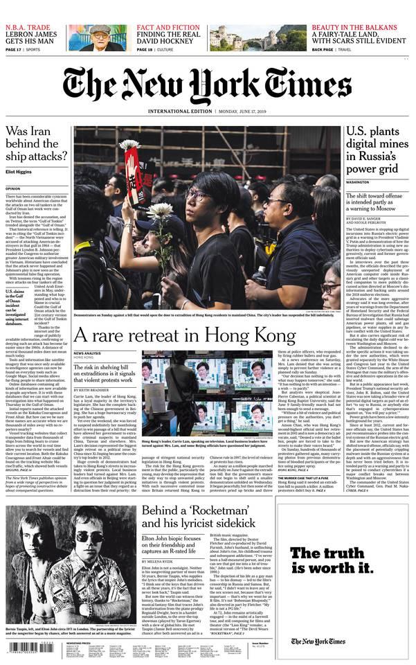 International New York Times du 17 juin 2019 à télécharger sur iPad