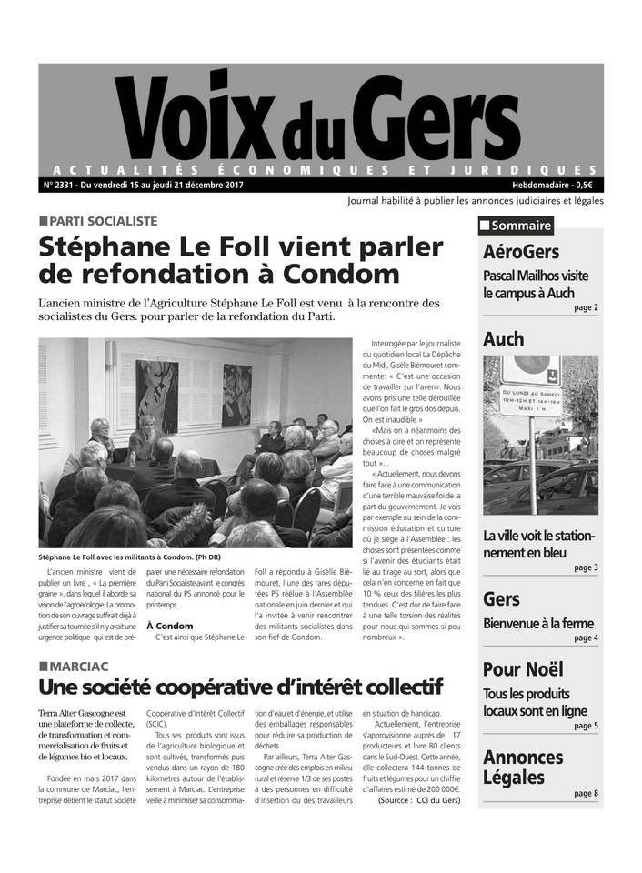 Voix du Gers du 15 décembre 2017