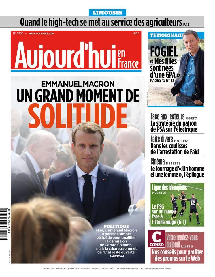 Aujourd'hui en France du 04 octobre 2018 à télécharger sur iPad