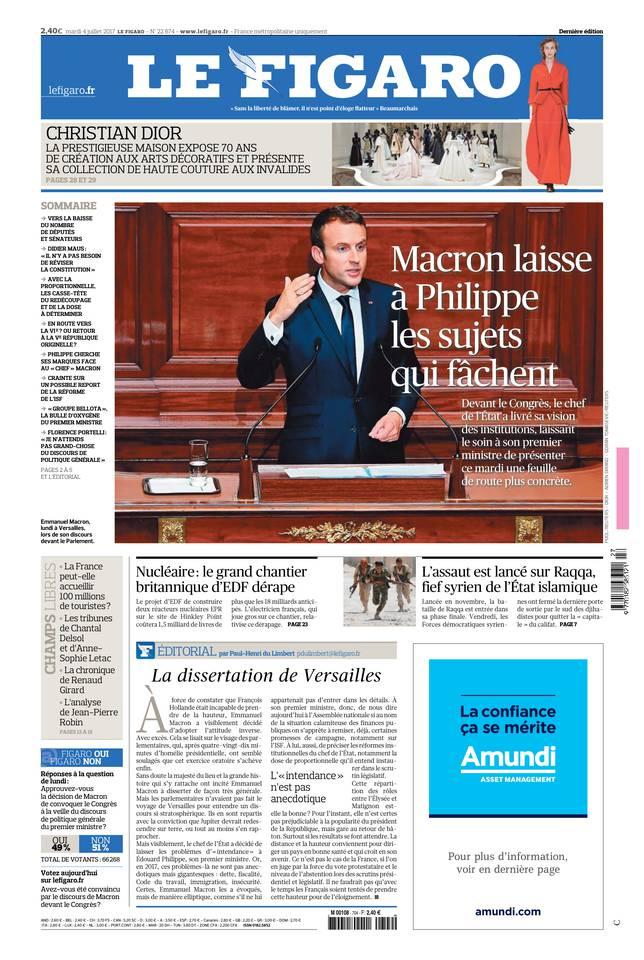 Le Figaro du 04 juillet 2017 à télécharger sur iPad