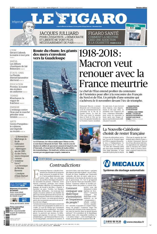 Le Figaro du 05 novembre 2018 à télécharger sur iPad