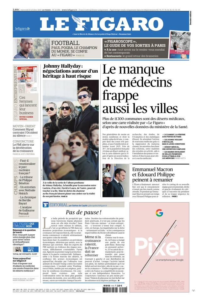 Le Figaro du 10 octobre 2018 à télécharger sur iPad