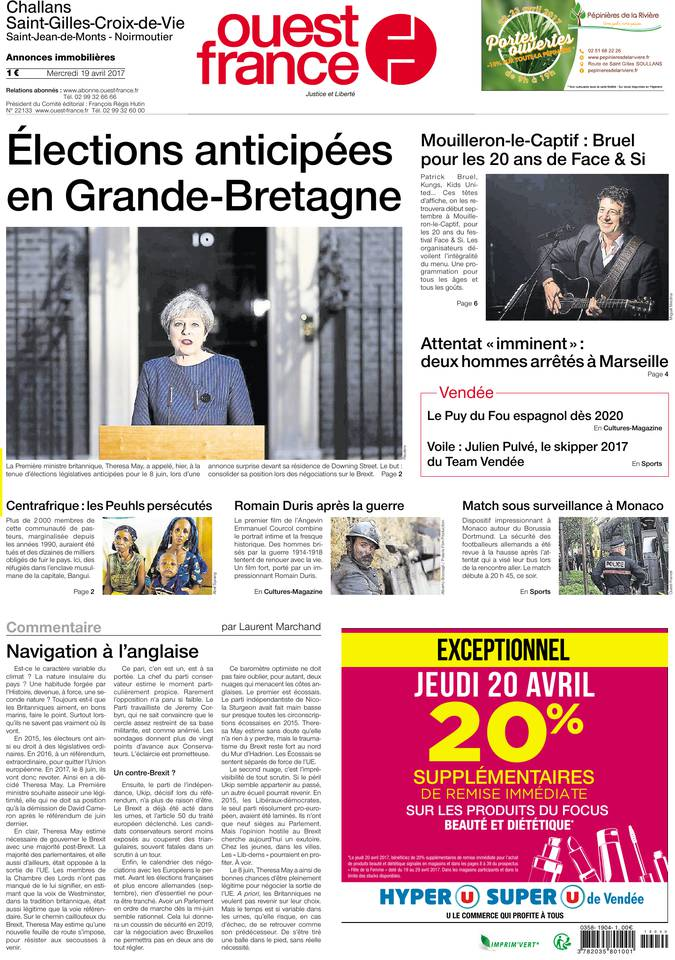 Ouest-France du 19 avril 2017 à télécharger sur iPad