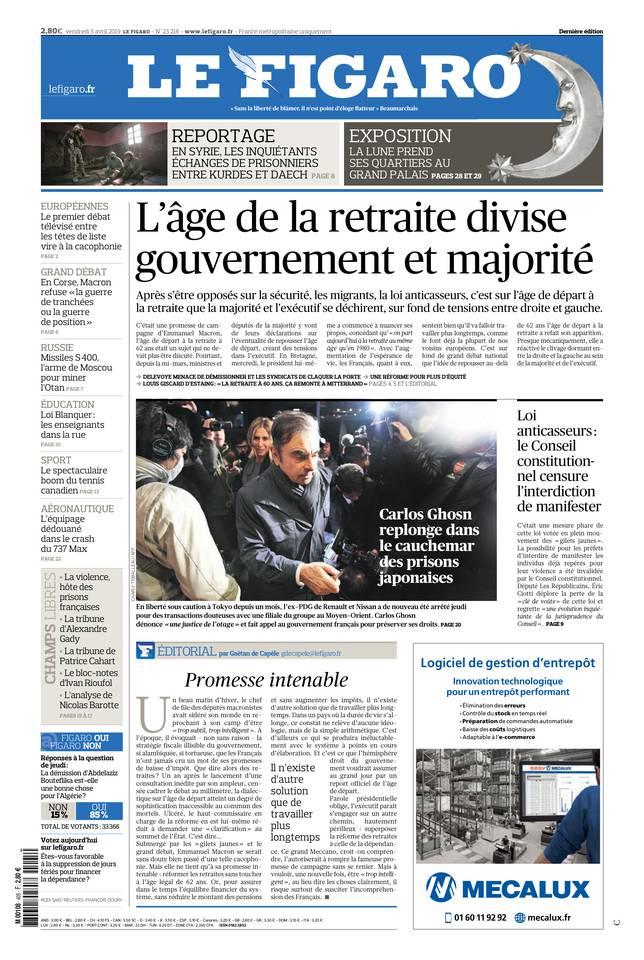 Le Figaro du 05 avril 2019 à télécharger sur iPad