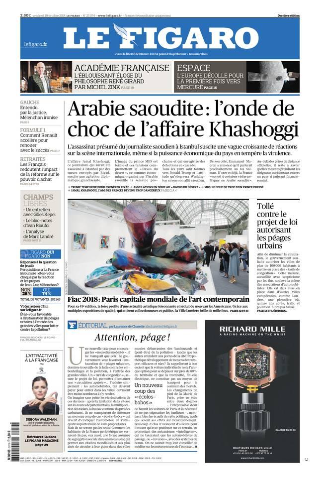 Le Figaro du 19 octobre 2018 à télécharger sur iPad