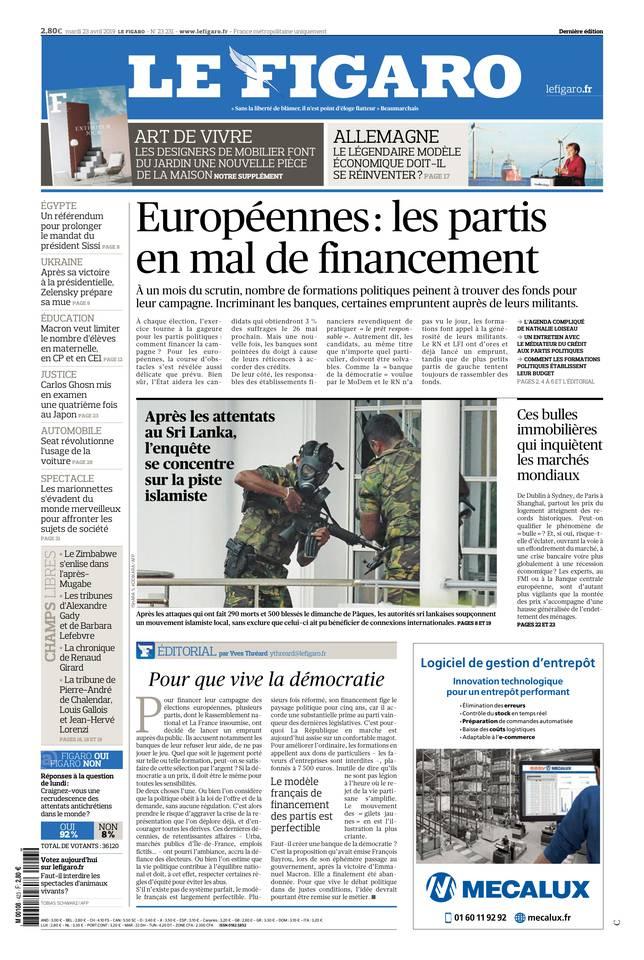 Le Figaro du 23 avril 2019 à télécharger sur iPad