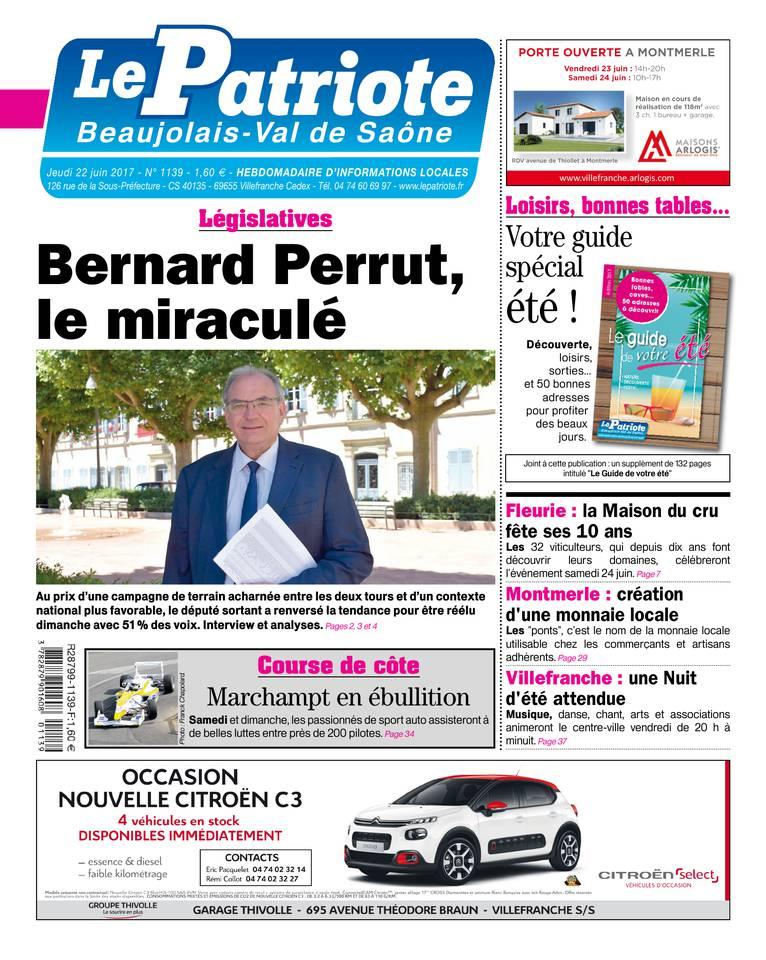 Le Patriote Beaujolais du 22 juin 2017 à télécharger sur iPad