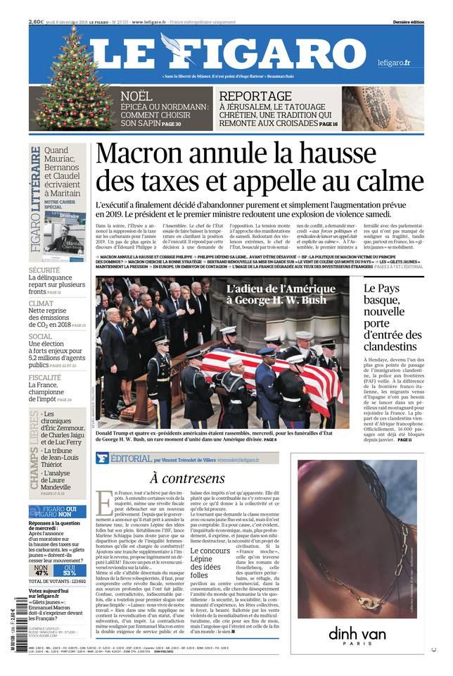Le Figaro du 06 décembre 2018 à télécharger sur iPad