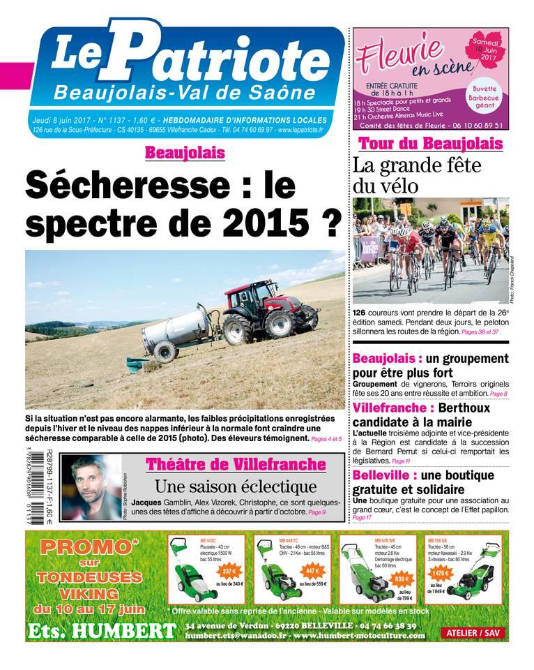 Le Patriote Beaujolais du 08 juin 2017 à télécharger sur iPad