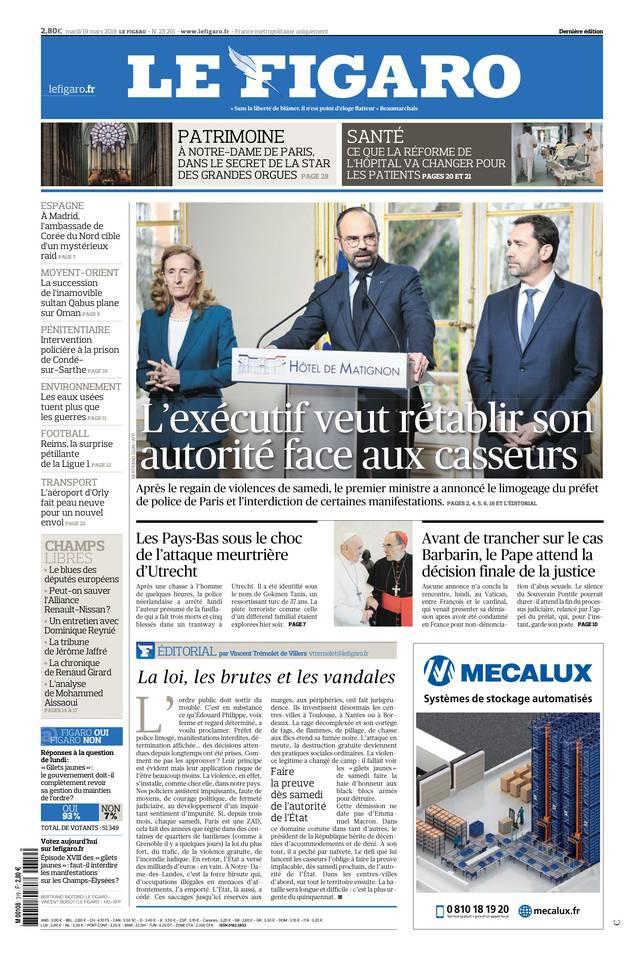 Le Figaro du 19 mars 2019 à télécharger sur iPad