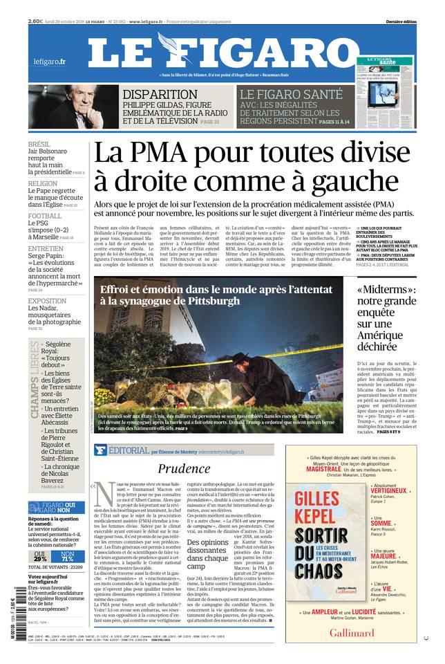 Le Figaro du 29 octobre 2018 à télécharger sur iPad