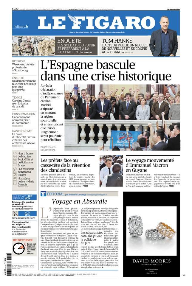 Le Figaro du 28 octobre 2017 à télécharger sur iPad