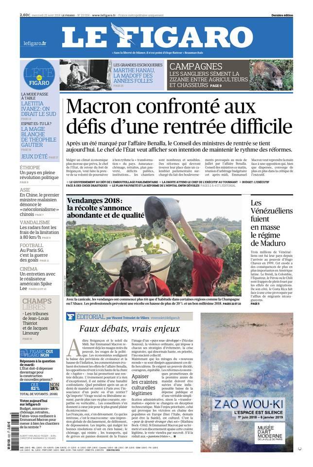 Le Figaro du 22 août 2018 à télécharger sur iPad