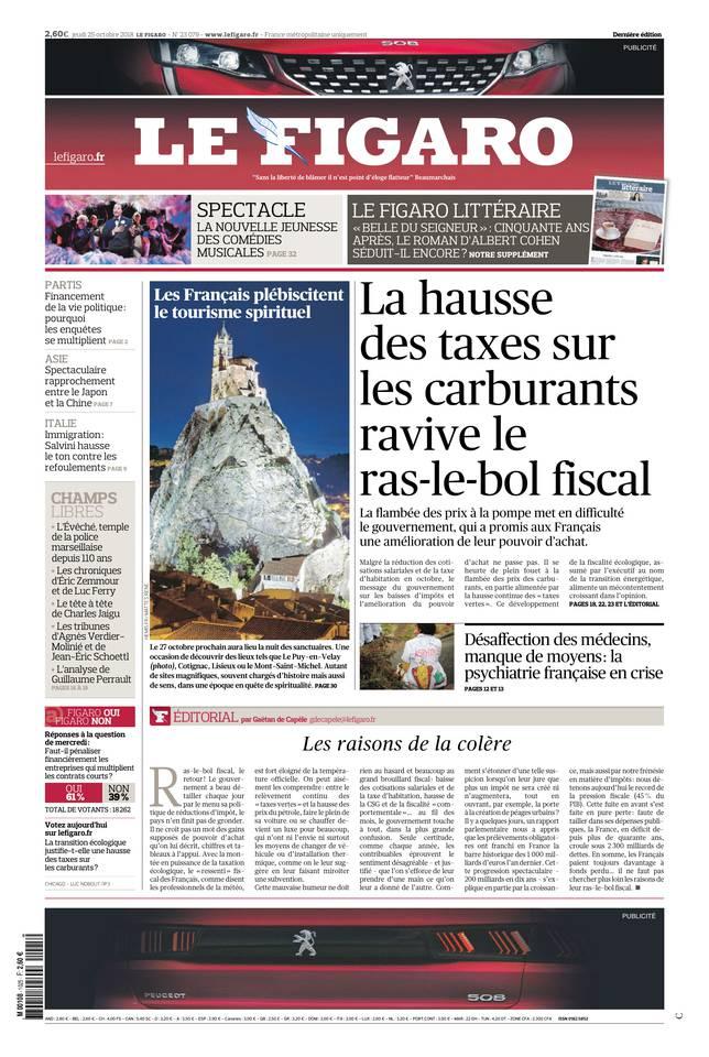 Le Figaro du 25 octobre 2018 à télécharger sur iPad