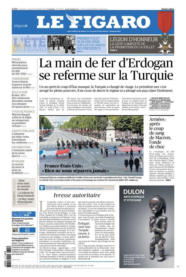 Le Figaro du 15 juillet 2017 à télécharger sur iPad