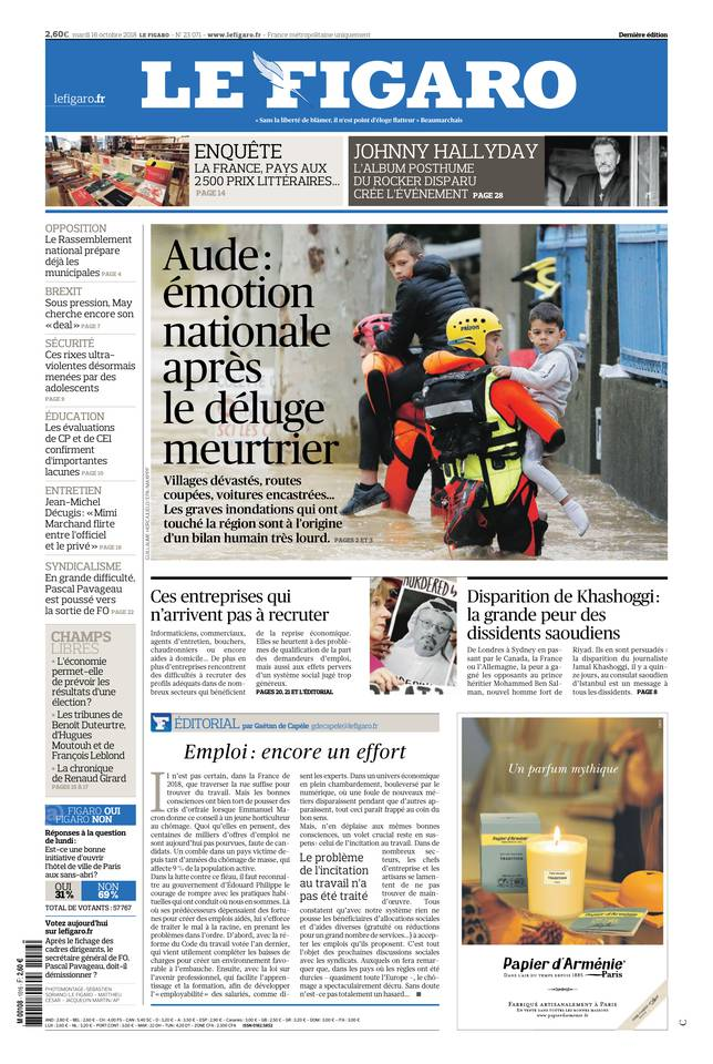 Le Figaro du 16 octobre 2018 à télécharger sur iPad