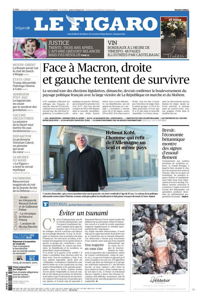 Le Figaro du 17 juin 2017 à télécharger sur iPad