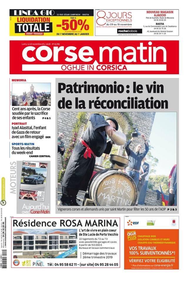 Corse Matin île du 12 novembre 2018