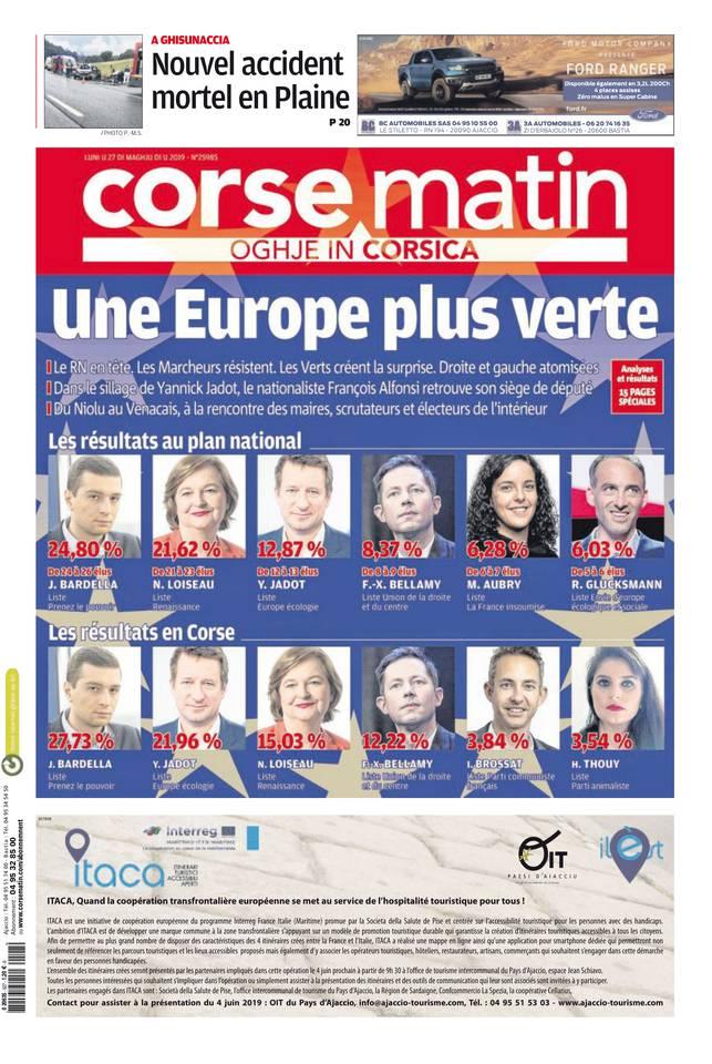 Corse Matin île du 27 mai 2019