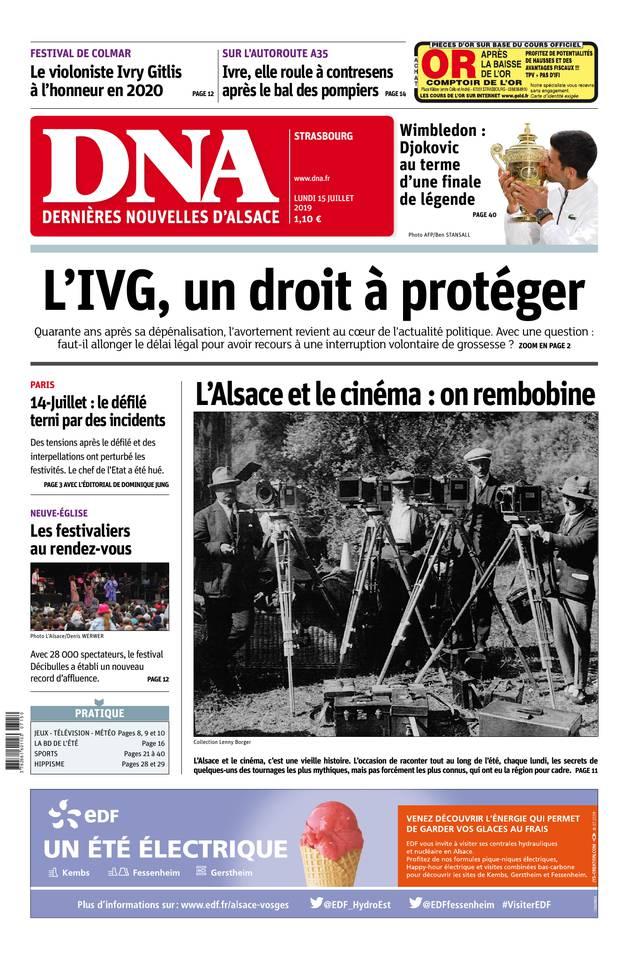 Les Dernières Nouvelles d'Alsace - Strasbourg du 15 juillet 2019