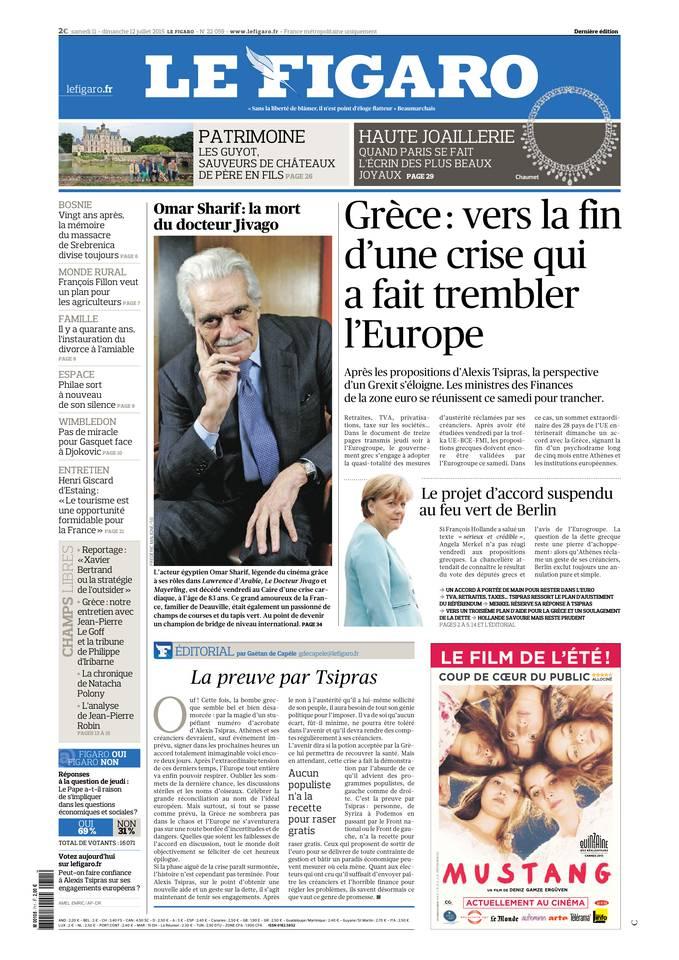 Le Figaro du samedi 11 juillet 2015