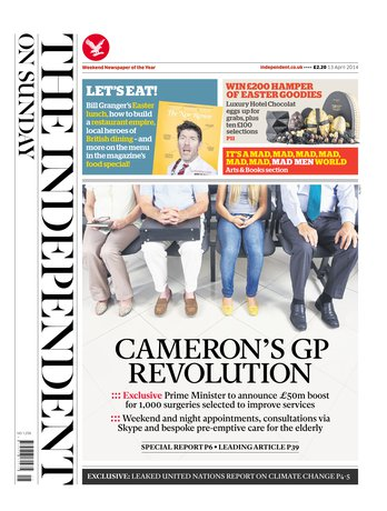 Une de «The Independent on Sunday»