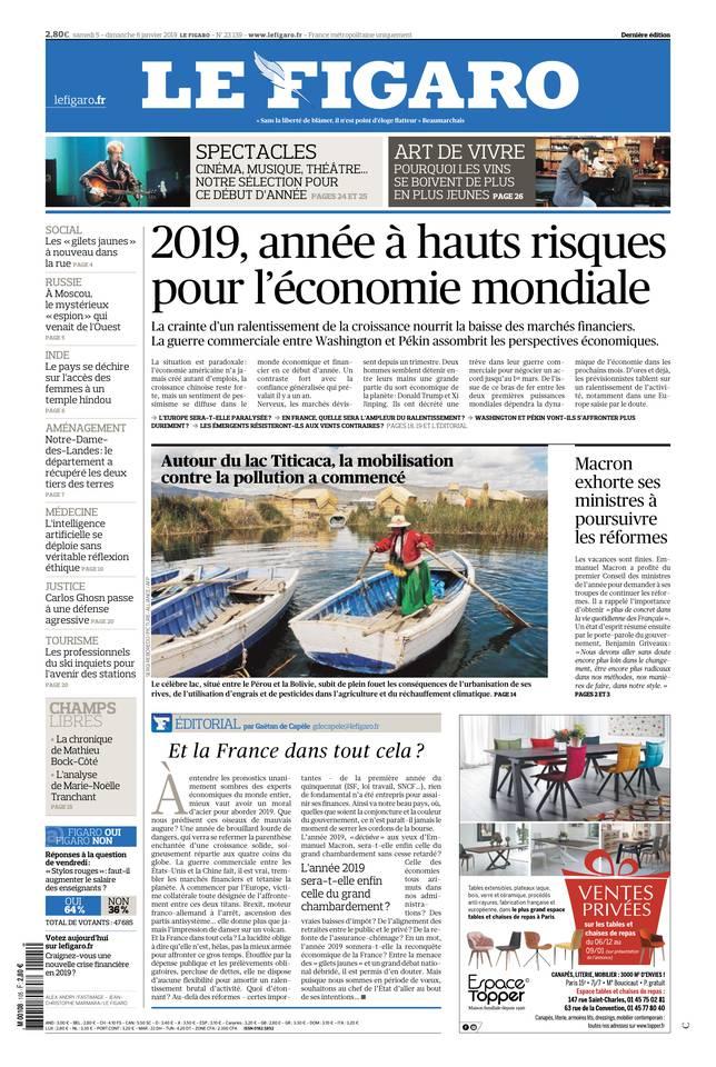 Le Figaro du 05 janvier 2019 à télécharger sur iPad