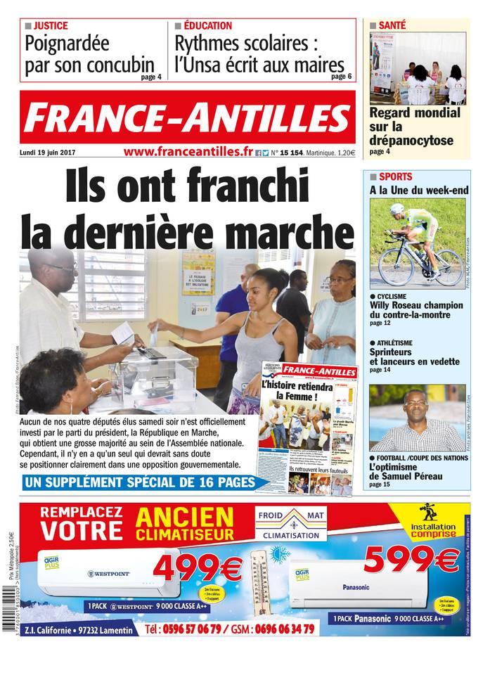 France-Antilles Martinique du 19 juin 2017 à télécharger sur iPad