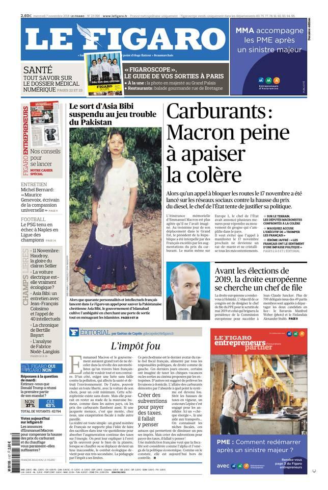 Le Figaro du 07 novembre 2018 à télécharger sur iPad